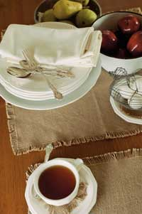 Victorian Heart Burlap Natural Placemats (Set of 2)