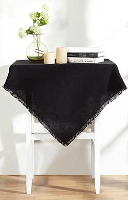 Burlap Black Tablecloth - 40 x 40