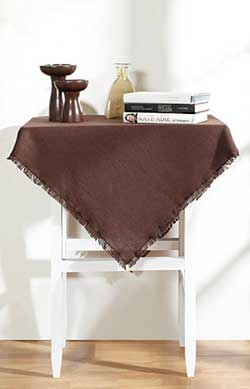 Burlap Brown Tablecloth - 40 x 40