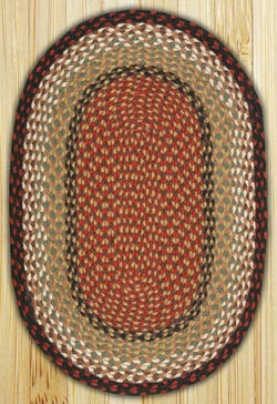 Burgundy / Mustard Oval Jute Rug (Special Order Sizes)