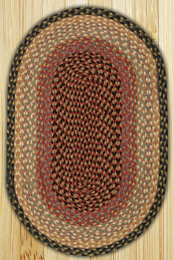 Burgundy/Gray/Creme Oval Jute Rug (Special Order Sizes)
