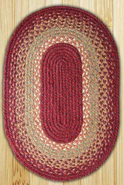 Burgundy, Maroon, and Sunflower Oval Jute Rug - 20 x 30 inch