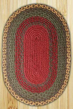 Burgundy, Green, and Sunflower Oval Jute Rug - 20 x 30 inch