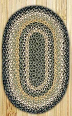 Black, Mustard, & Creme Oval Jute Rug - 20 x 30 inch