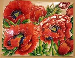 Red Poppies Art Tile