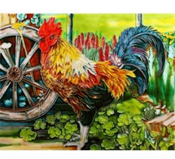 Rooster Art Tile