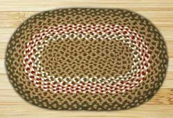 Green/Burgundy Oval Jute Rug - 20 x 30 inches