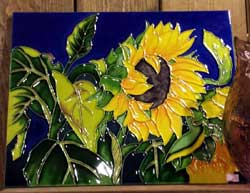 Sunflower in Blue Art Tile