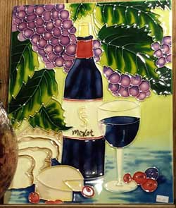 Merlot Bottle and Glass Art Tile