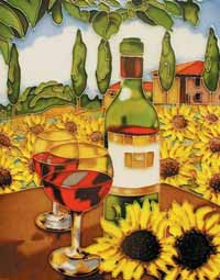 White Wine &amp; Sunflower Art Tile
