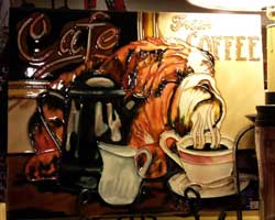 Bulldog Cafe Coffee Art Tile
