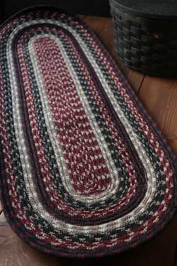 Burgundy, Black & Tan Cotton Tweed Table Runner, 36 inch