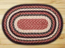 Burgundy, Black, &amp; Tan Oval Jute Rug (Mutiple size options)