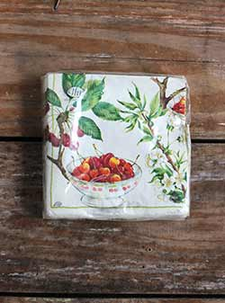 Cherry Picking White Cocktail Napkins