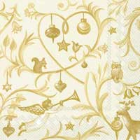 Christmas Tales Gold Paper Cocktail Napkins