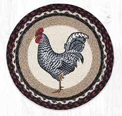 Black & White Rooster Braided Chair Pad