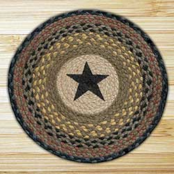 Star Braided Jute Chair Pad (Black and Browns)