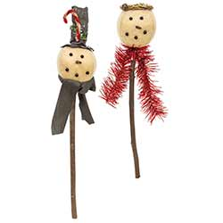 Primitive Snowman Stakes (Set of 2)
