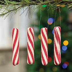Peppermint Stick Ornaments (Set of 4)