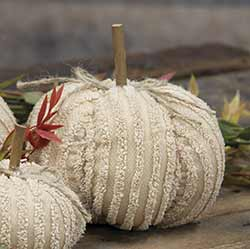 Medium Mini Cream Chenille Pumpkin