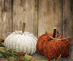Mini Chenille Pumpkins (Set of 2)