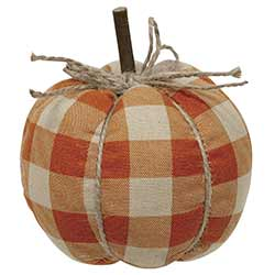 Orange Buffalo Check Pumpkin - Small
