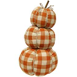 Orange Buffalo Check Pumpkin Stack