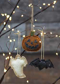 Mini Halloween Felt Ornaments (Set of 3)
