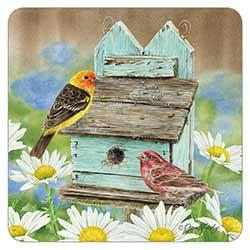 Birds at a Birdhouse Coaster