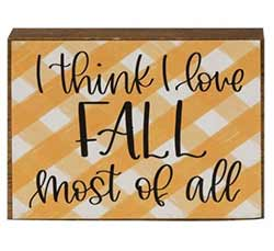 I Love Fall Plaid Shelf Sitter