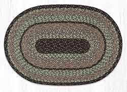 Moss Bark 20 x 30 inch Braided Rug - Oval