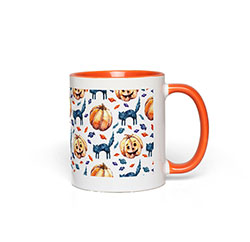 Cats & Jacks Halloween Mug with Orange