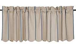 Charlotte Azure Striped Cafe Curtains - 24 inch Tiers