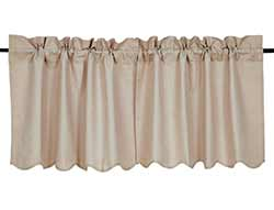 Charlotte Solid Natural Cafe Curtains - 24 inch Tiers