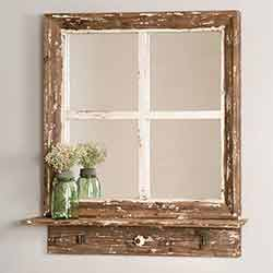 Cottage Window Wall Mirror with Shelf