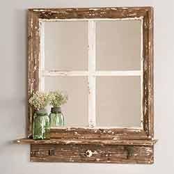 Cottage Window Wall Mirror with Shelf