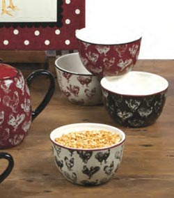 Country Rooster Ice Cream Bowls (Set of 4)