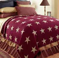 Burgundy Star Coverlet - Queen