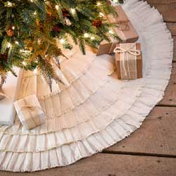 Burlap Creme Ruffled Tree Skirt