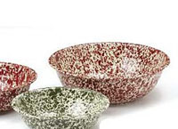 Medium Basin Enamelware - Red Marble