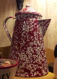 Coffee Pot Enamelware - Red Marble