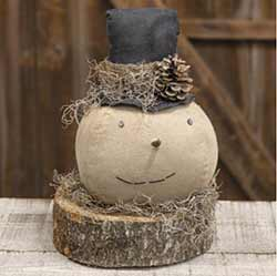Primitive Top Hat Snowman on Wood Slice