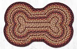 Black Cherry, Chocolate, & Cream Dog Bone Braided Rug
