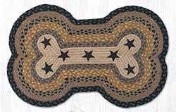 Brown, Black & Charcoal with Stars Dog Bone Braided Rug
