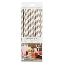 Taupe Striped Paper Straws (Set of 24)