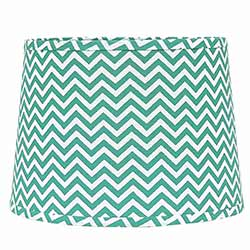Teal and White Chevron Drum Lamp Shade - 10 inch