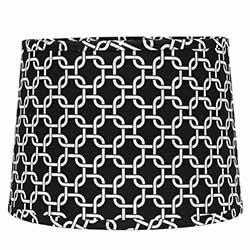 Black and White Greek Key Drum Lamp Shade - 10 inch