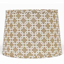 Beige Greek Key Drum Lamp Shade - 10 inch