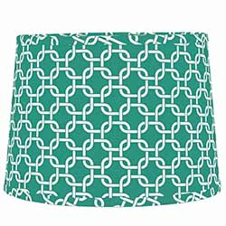 Seafoam Greek Key Drum Lamp Shade - 10 inch