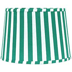 Teal and White Striped Drum Lamp Shade - 10 inch